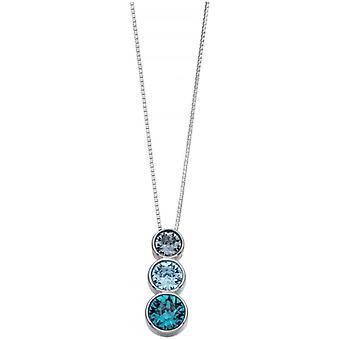 Början Swarovski Triple hänge - blå/Silver
