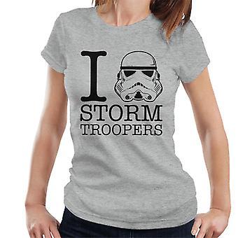 Stormtrooper original eu coração t-shirt Troopers feminino