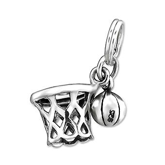 Basketball Net - 925 Sterling Silver Charms With Split Ring - W29900x