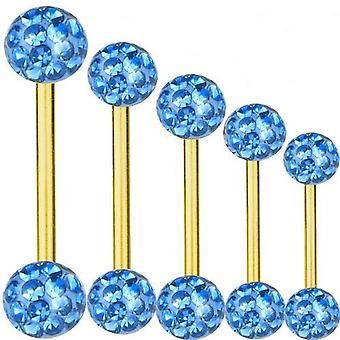 Piercing Bar Titan Gold vergoldet 1, 6mm, Multi Kristall Kugel hellblau | 6-40 mm