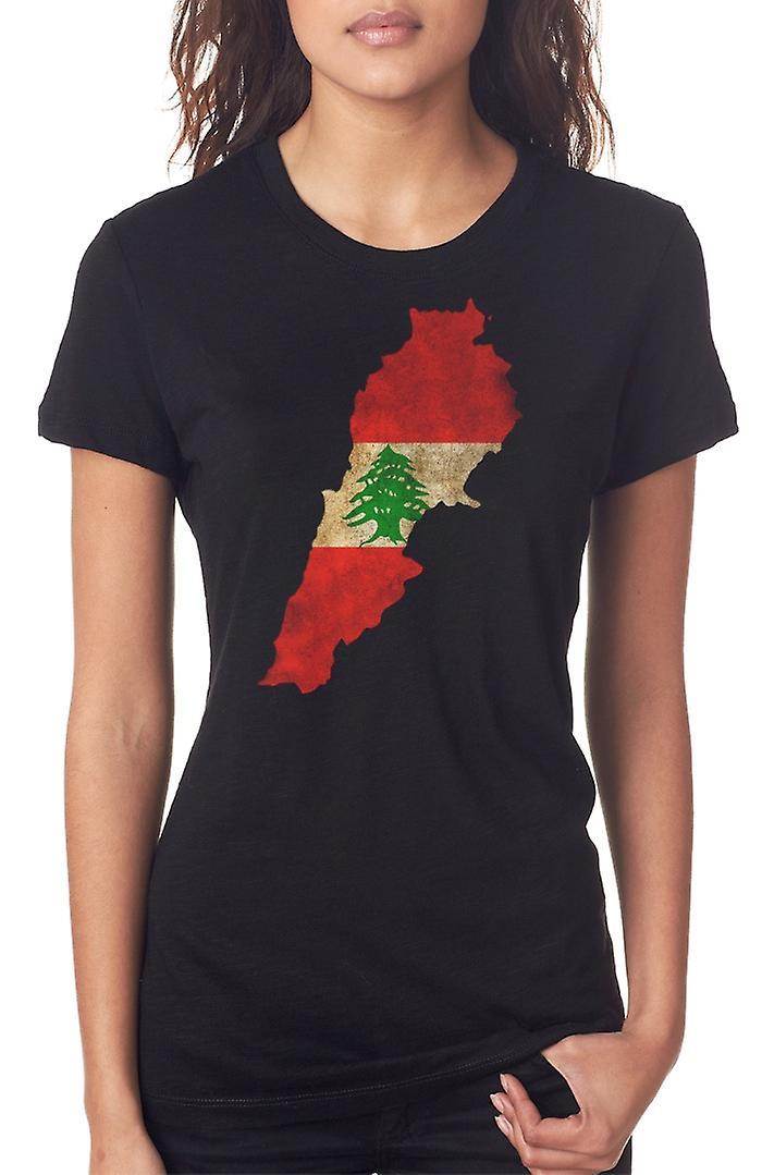 Lebanon_Lebanese Flag Map Ladies T Shirt