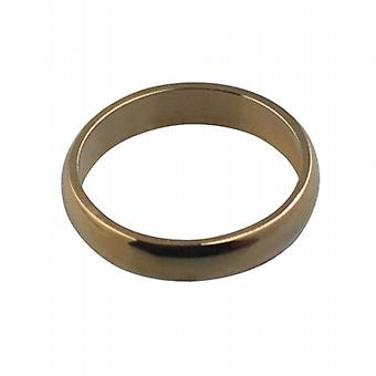 9ct Gold plain D shaped Wedding Ring 4mm wide in Size I