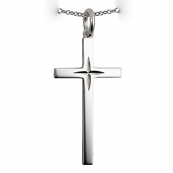 Silver 30x17mm diamond cut star solid block Cross with a rolo Chain 14 inches Only Suitable for Children