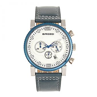 Breed Ryker Chronograph Leather-Band Watch w/Date - Teal/Silver