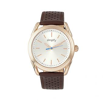 Simplify The 5900 Leather-Band Watch - Rose Gold/Brown