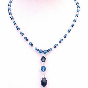 TriColor Genuine Swarovski Crystals Indicolite Night Blue Clear Crystal Drop Down Necklace