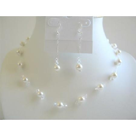 White Pearls Clear Crystals Jewelry Swarovski Pearls Crystals Necklace