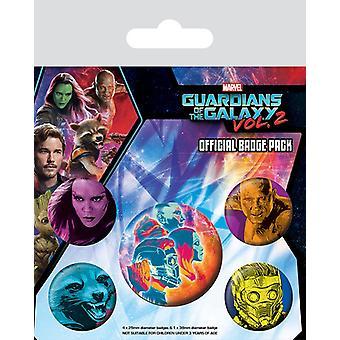 Guardians of the Galaxy 2 Button Set Cosmic bunt, bedruckt, aus Blech, 1x Ø 3,8 cm, 4x Ø 2,5 cm.