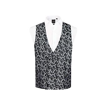 Dobell Mens Black/Silver Waistcoat Double Breasted Shawl Lapel Edwardian Swirl