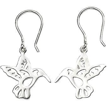 Beginnings Cut Out Hummingbird Earrings - Silver