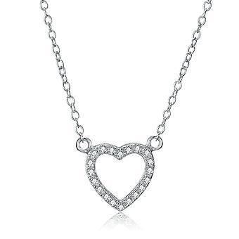 925 Sterling Silver Pave Elegant Heart Shape Necklace