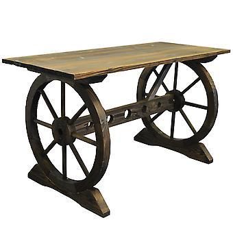Garden Cartwheel Table - Outdoor Solid Wood