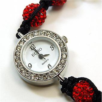 Echo Ladies Glitter Bright Red Hematite Disco-balla Bracelet Watch