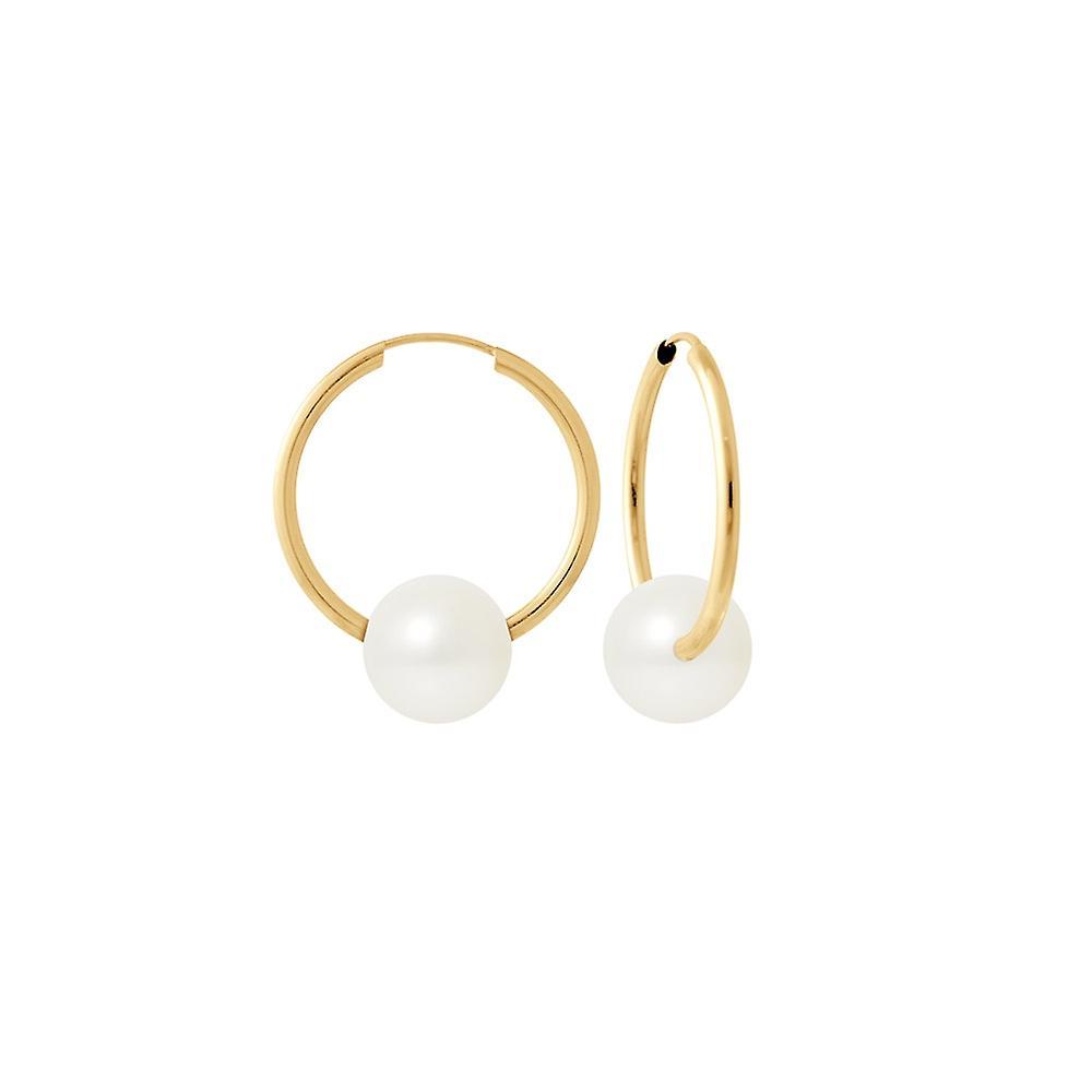 Boucles d&Oreilles Petites Créoles Perles de Culture blanches et or jaune 750 1000