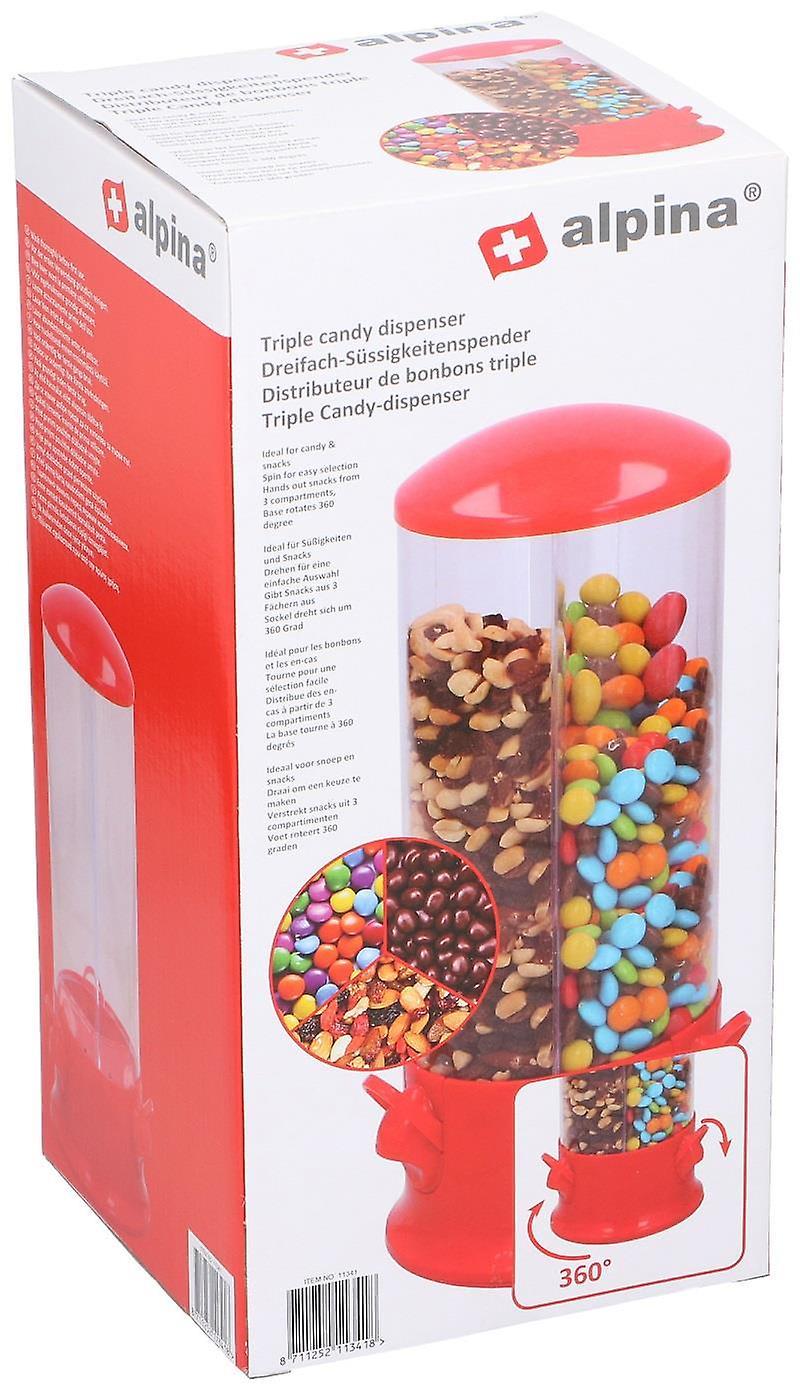 Triple Candy Machine Dispenser Sweets 3 Compartment Bubble Gum Snacks Storage