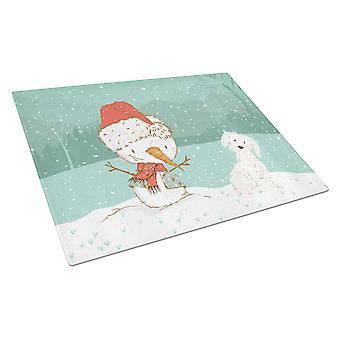 Maltese Snowman Christmas Glass Cutting Board Large