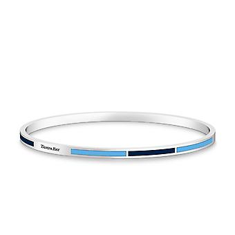 Tampa Bay Rays Tampa Bay Engraved Two-Tone Enamel Bracelet In Dark Blue And Light Sky Blue