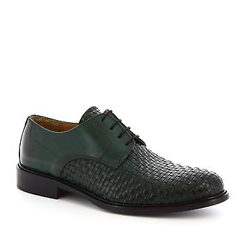 Leonardo Shoes Men's handmade lace-ups shoes in green woven calf leather
