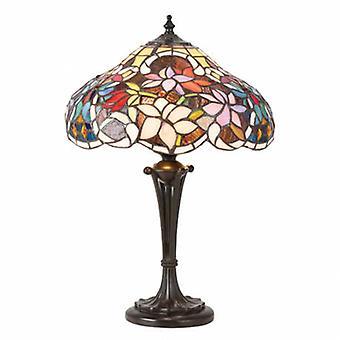 2 lampe de table petite lumière bronze foncé, verre Tiffany