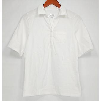 Denim & Co. Women's Top XXS Essentials Short Sleeve Roll Tab White A288712