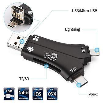 4 in 1 iPhone/micro USB/USB type-c/USB SD-kaartlezer voor iPhone iPad Mac & Android, SD & micro SD, PC-zwart