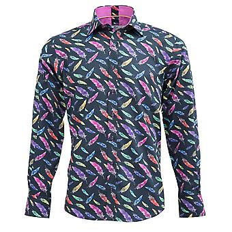 Claudio Lugli Feather Print Shirt Mens
