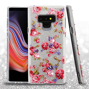 ASMYNA Vintage Rose Bush Full Glitter Hybrid Protector Cover (w/ Diamonds) for Galaxy Note 9