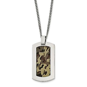 Stainless Steel Polished Printed Brown Camo Under Rubber Necklace - 22 Inch