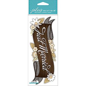 Jolee's Boutique Title Wave Dimensional Stickers-Just Married E5060462