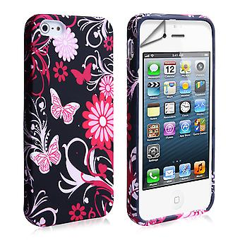 YouSave iPhone SE Floral Butterfly Hard Case PinkBlack