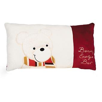 Benny Energy Bear Pillow white-burgundy 43 x 25 cm