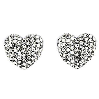 Clip On Earrings Store Silver & Crystal Heart Clip On Earrings