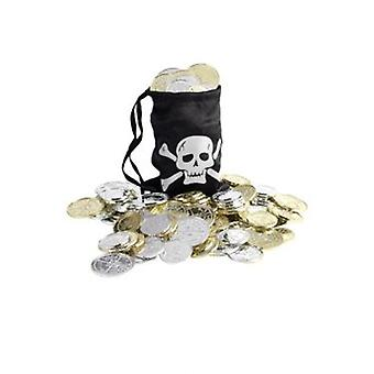Smiffys Pirate Coin Bag Black With Coins (Costumes)