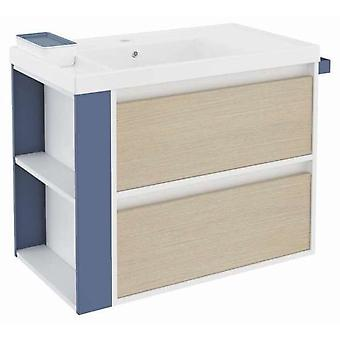 Bath+ Sink cabinet 2 Drawers With Resin Oak-White-Blue 80CM