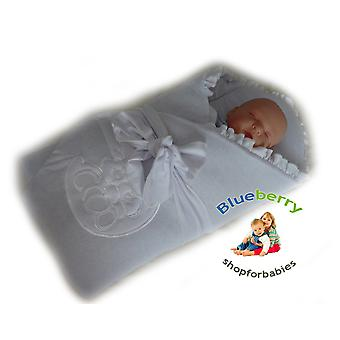 BlueberryShop Velour Embroidered Swaddle Blanket Wrap for Newborn Baby Stiffened / Hard  Back (Removable Sponge Insert)