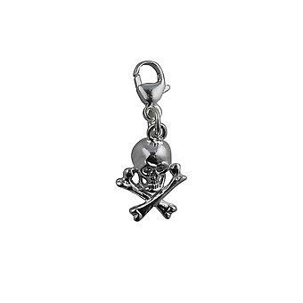 Silver 12x10mm Skull and Crossbones Charm with a lobster catch