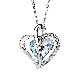 Rhodium Plated Ice Blue Double Heart Pendant