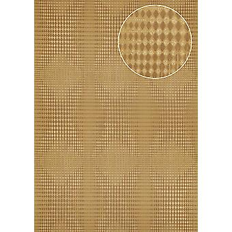 Graphic wallpaper Atlas ICO-5074-2 non-woven wallpaper smooth with geometric shapes and metal accents gold Brown 7,035 m2