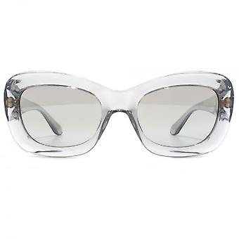 Versace Medusa Coin Temple Rectangle Sunglasses In Transparent Grey