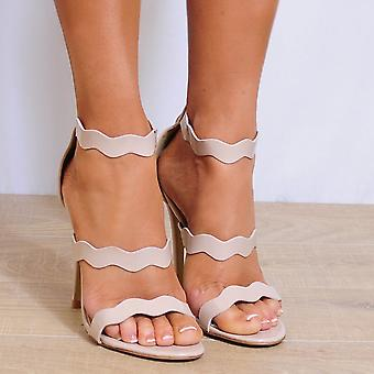 Shoe Closet Nude Strappy Heels - Ladies Bree-1 Nude Strappy Sandals