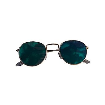 Cool urban sunglasses with green mirror glass silver