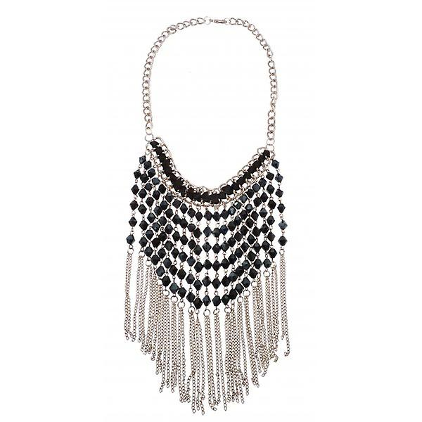 W.A.T Silver Style Long Chain And Black Bead Statement Necklace