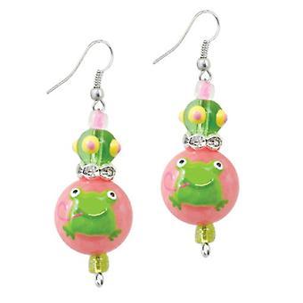 Lille grønne frøer Rhinestone glas Beaded Kate og Macy øreringe