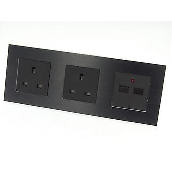 I LumoS Luxury Black Brushed Aluminium Frame Double 13A UK + 2.1A USB Plug Triple Socket