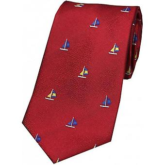 David Van Hagen Sailing Boat Country Silk Tie - Red