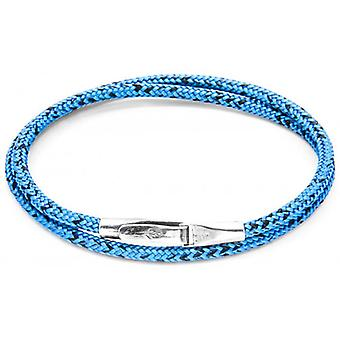 Anchor and Crew Liverpool Silver and Rope Bracelet - Blue Noir