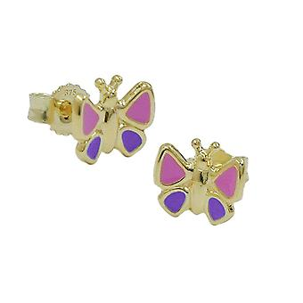 Childrens jewellery children's jewellery gold 375 earrings plug Butterfly 9 KT GOLD