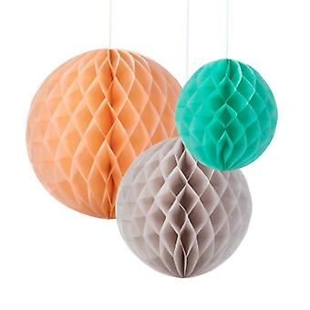 Talking Tables Honeycomb Paper Decorations x 3 - Peach / Grey / Mint Wedding / Party