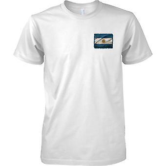 Argentina Grunge Grunge Effect Flag - Mens Chest Design T-Shirt