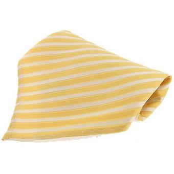 David Van Hagen Striped Silk Handkerchief - Yellow/White